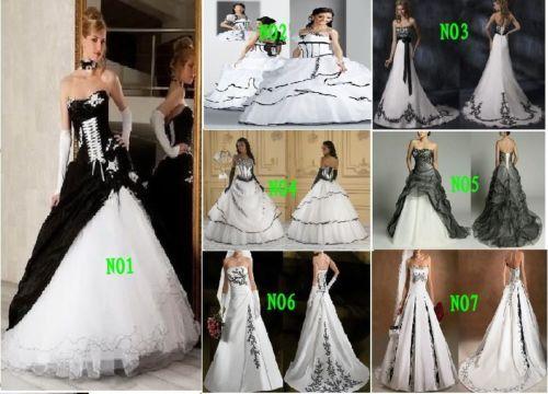 ... Style Weiß+ Schwarz Brautkleid, Hochzeitskleid Größe:34--44
