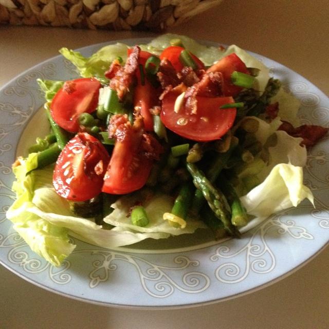 Salad: asparagus, lettuce, green onion, bacon & lemon-mustard ...