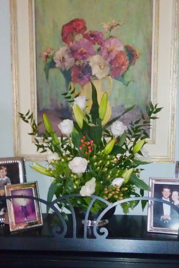 Blush roses, Casablanca lilies, poet's laurel & three shades of hypericum (Connie Ramsey)