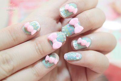 bow pastel nails