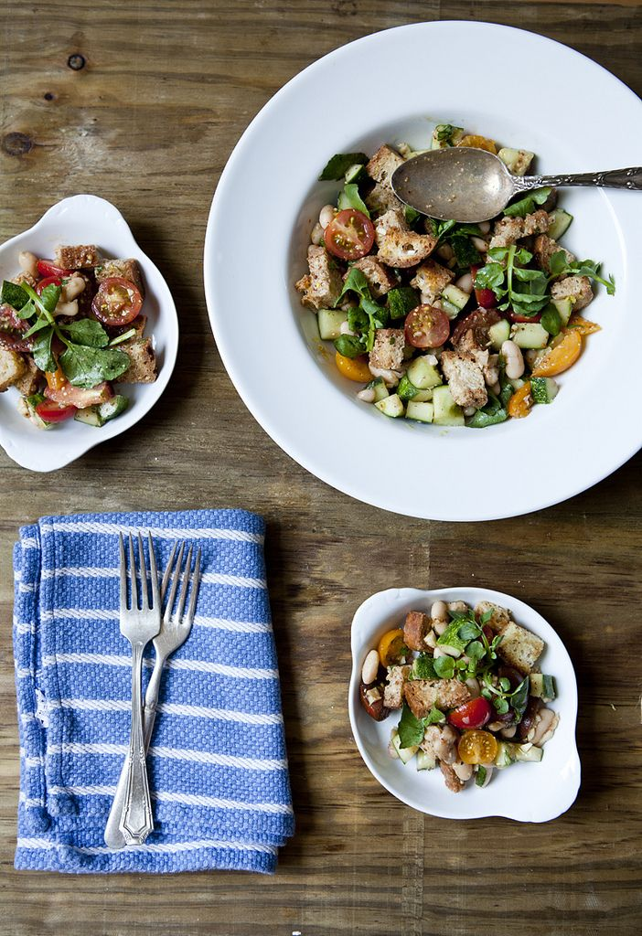 Picnic Panzanella with Heirloom Tomatoes, Cannellini beans, Watercress ...