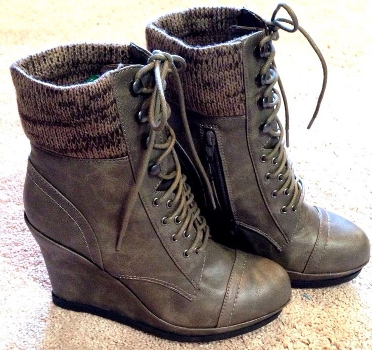 mossimo womens size 11 gray lace up wedge ankle bootie