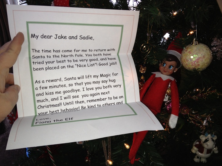 Saying goodbye   Elf on the Shelf   Pinterest