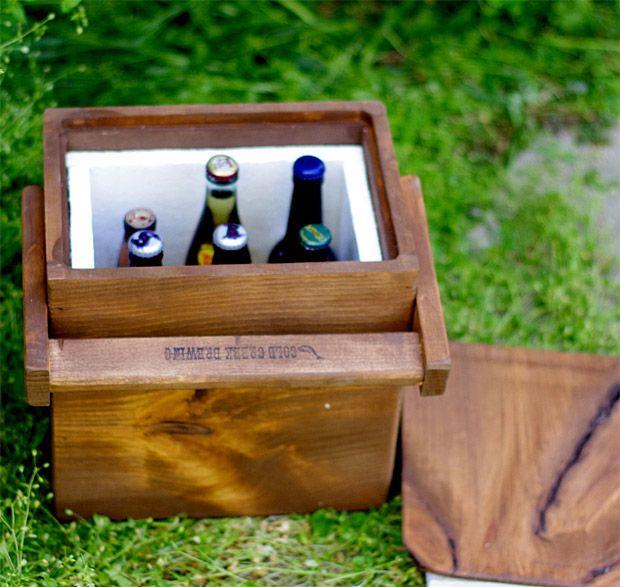 Wooden Beer Cooler, hand built sixer perfect for a nice bestman groomsmen gift