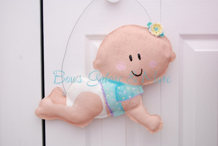 This is our Crawling Baby Burlap Door Greeter $ 37 BowsGaloreandMore - Craft Cafe