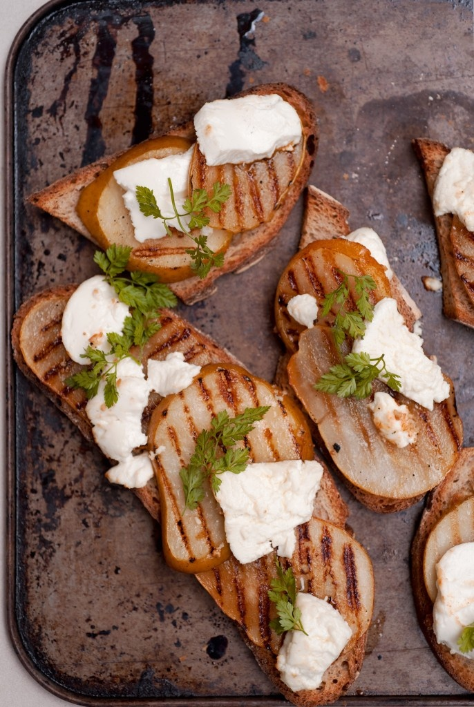 Pear, Raspberry And Goat Cheese Crostini Recipe — Dishmaps
