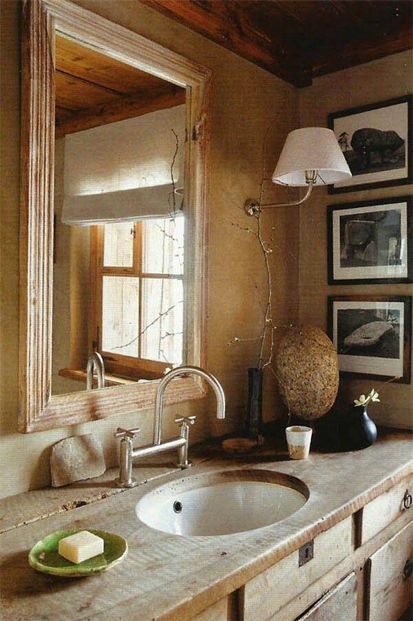 Baño rustico  Casa  Pinterest