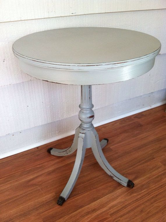 Vintage black round side table painted gray and distressed for Prem table 99 00