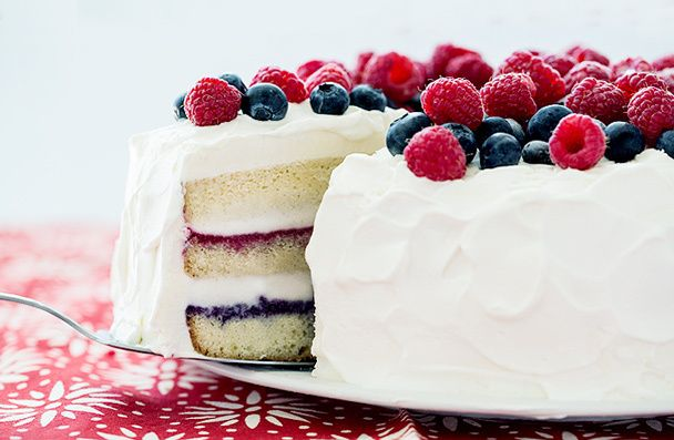 DIY Red white and blue ice cream cake