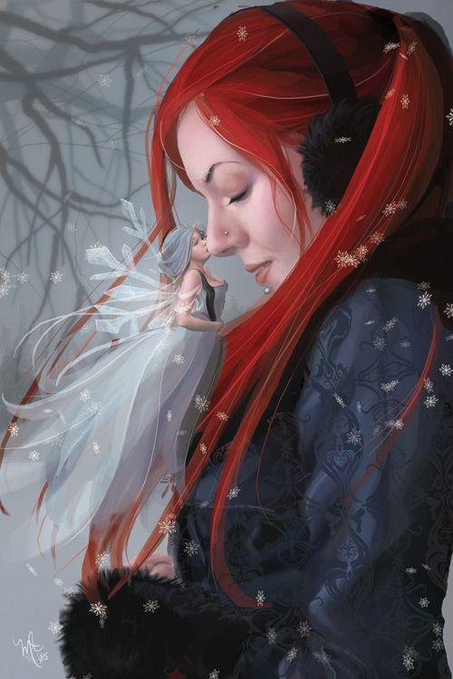 Winter's Kiss #Snow #Faerie #Kiss #Pixie #Winter #Seasonal #Fairy #Fae #Fee #magical #magic #fairytale #illustration #painting #digitalart