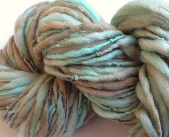 Handspun Yarn Thick and Thin ROBINS EGG bulky merino crochet, knitti ...