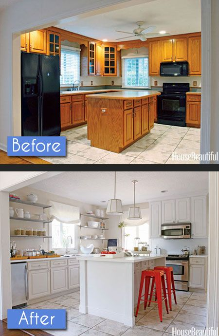 Kitchen Before After Photos: 8 Amazing Makeovers   Decorating Files   #kitchenbeforeafter #kitchenmakeovers