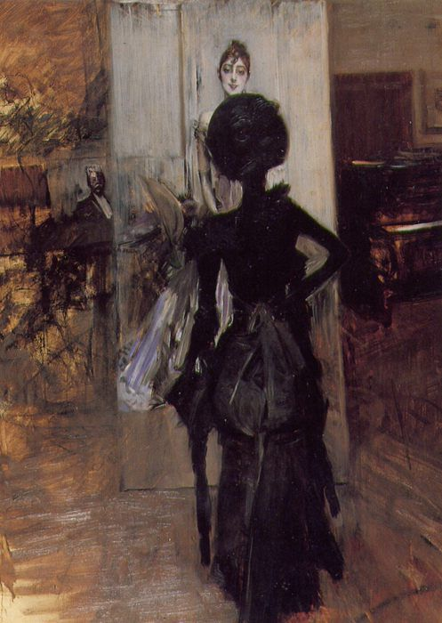 Donna in nero che guarda il pastello della signora Emiliana Concha de Ossa. Giovanni Boldini. 1888.