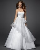 bebe Bead Organza Bow Princess Wedding Dress - Rami Kashou