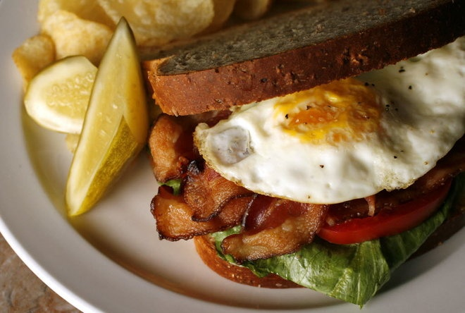 The Delk's BELT (bacon, egg, lettuce and tomato sandwich) at Edward ...