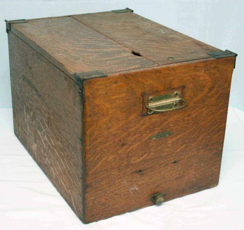 Antique Oak Wood File Box Cabinet Geo. G. Fetter ...