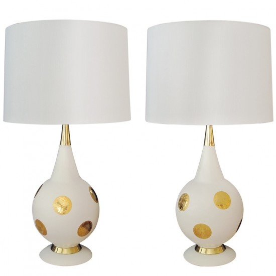 gold dot lamps imagine with kermit green silk drum shades oh yum. Black Bedroom Furniture Sets. Home Design Ideas