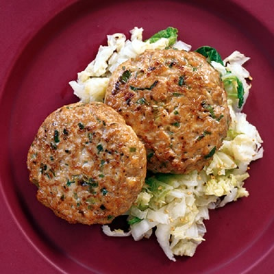 Mu Shu Chicken Patties with Seared Napa Cabbage | Recipe