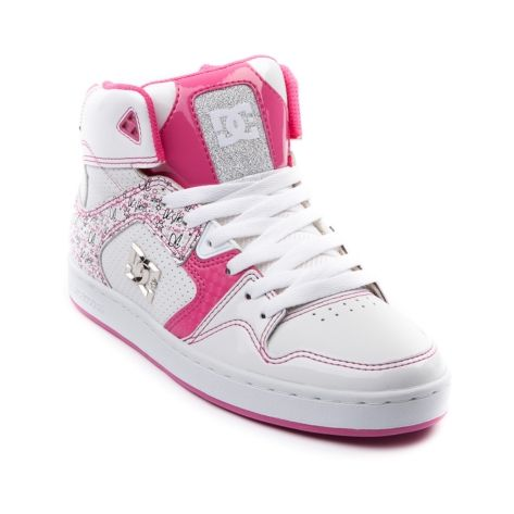 these pink and white dc shoes sports