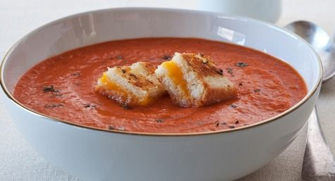 ... soup with cheese topped croutons tomato orange soup with grilled