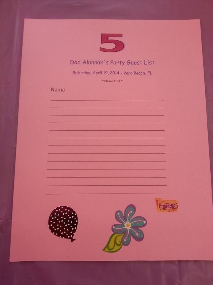 ... McStuffins - ER sign in sheet | Doc McStuffins Party Ideas | Pint