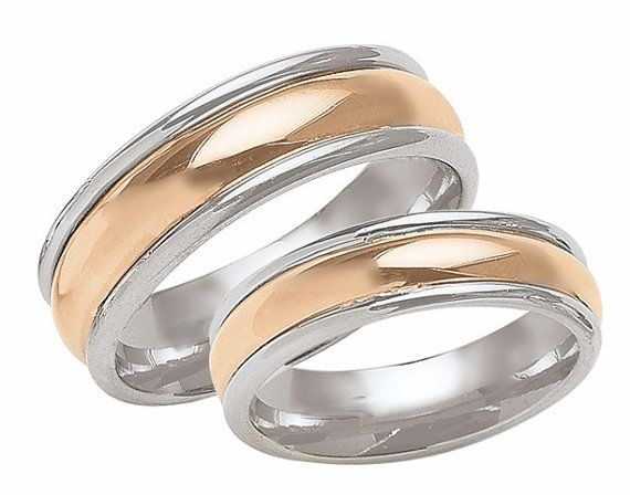 His & Hers Mens Womens Matching 14K White and Rose Gold Wedding Bands…