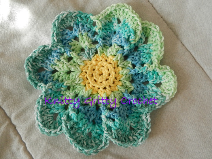 Hand crocheted flower dishcloth Items I Have Made ...