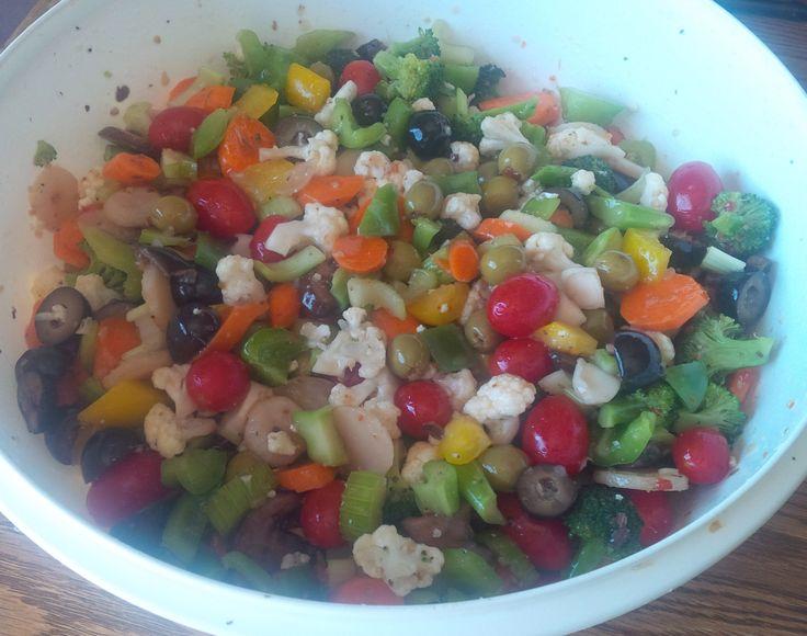 Marinated Vegetable Salad: 1 bunch Broccoli and 1 Cauliflower, cut up ...