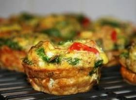 scrambled egg muffins    Ingredients:    9 Eggs  ½ cup Chopped Fresh Spinach  ⅓ cup Skim Milk  ⅓ cup Spelt Flour, or whole wheat pastry flour  ¼ cup 2% Grated Cheddar Cheese  1 Tbsp Chopped Fresh Basil  1 Small Tomato, chopped  ½ tsp Sea Salt  ½ tsp Cracked Black Pepper    Directions:    Preheat oven to 350. Break the eggs into a bowl and whisk. Add the rest of your ingredients and mix it all together. Add spoonfuls of the mixture to a nonstick muffin tin or a tin sprayed with nonstick coating. I used a 1/4 C measuring cup to transfer the mixture. Pop them in the oven and bake for 25 to 30 minutes, or until done.