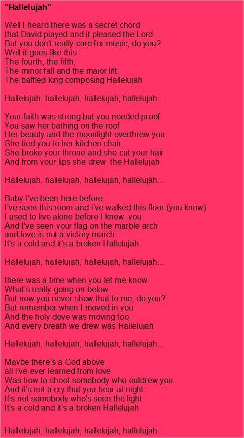 Hallelujah Song Leonard Cohen Lyrics