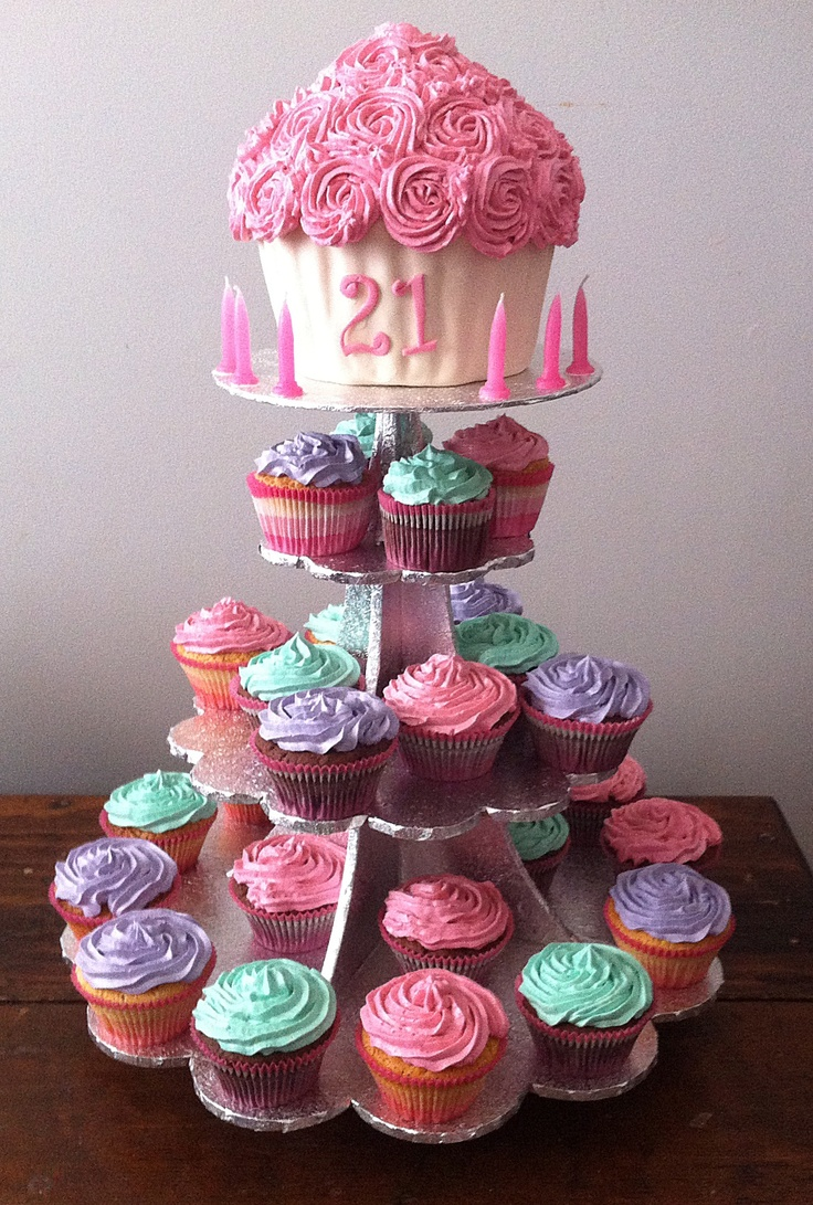 Cupcake Decorating Ideas 21st Birthday : 21st birthday giant cupcake Cakes I ve created Pinterest