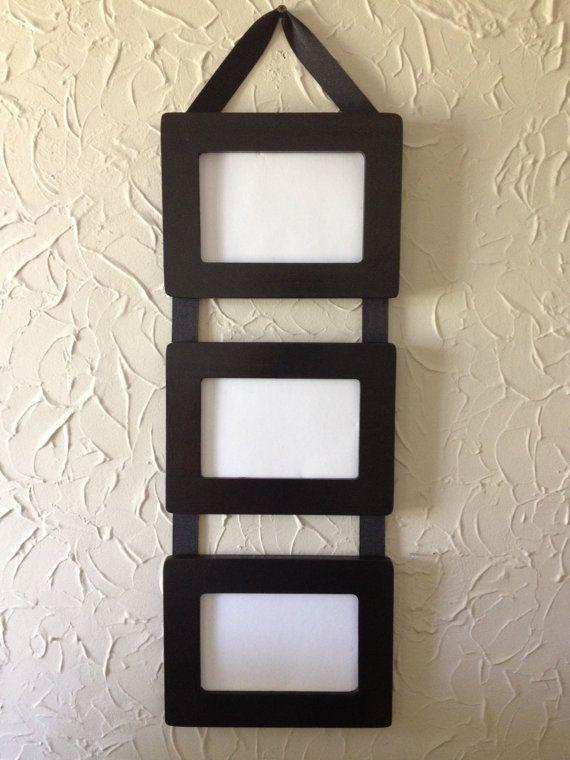 Ribbon Hanging Picture Frames Set of 3 4x6 black frames