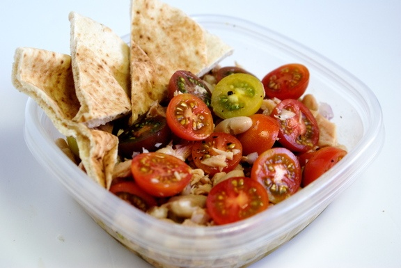 Tuna and White Bean Salad with Heirloom tomatoes. AKA, lunch next week ...