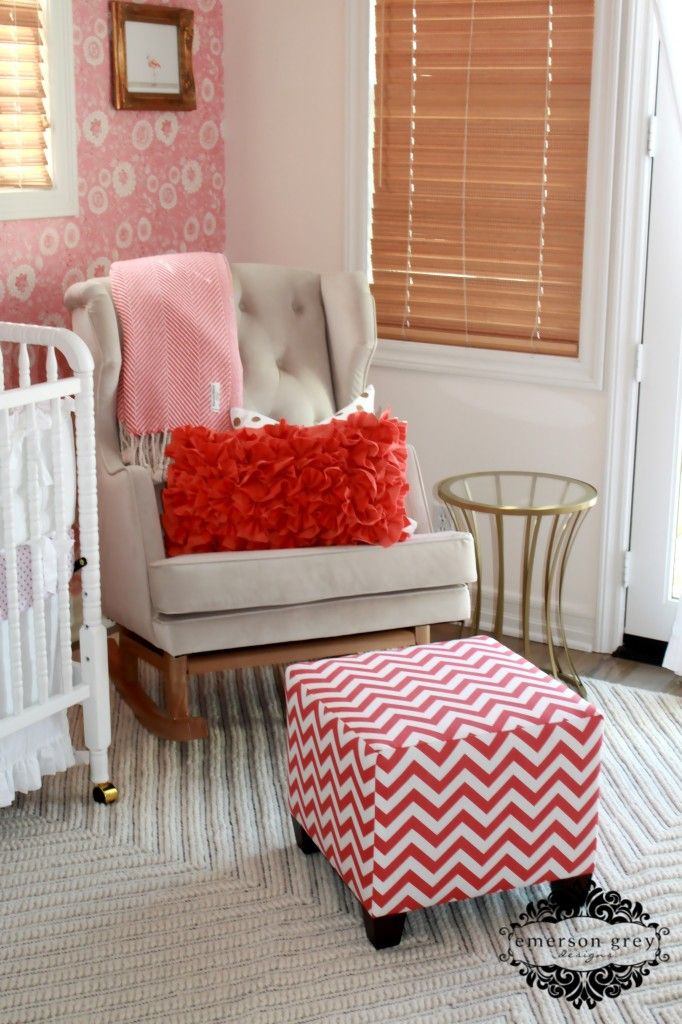 This Empire Rocker from @Nursery Works is the perfect touch of modern sophistication in this #babygirl nursery!