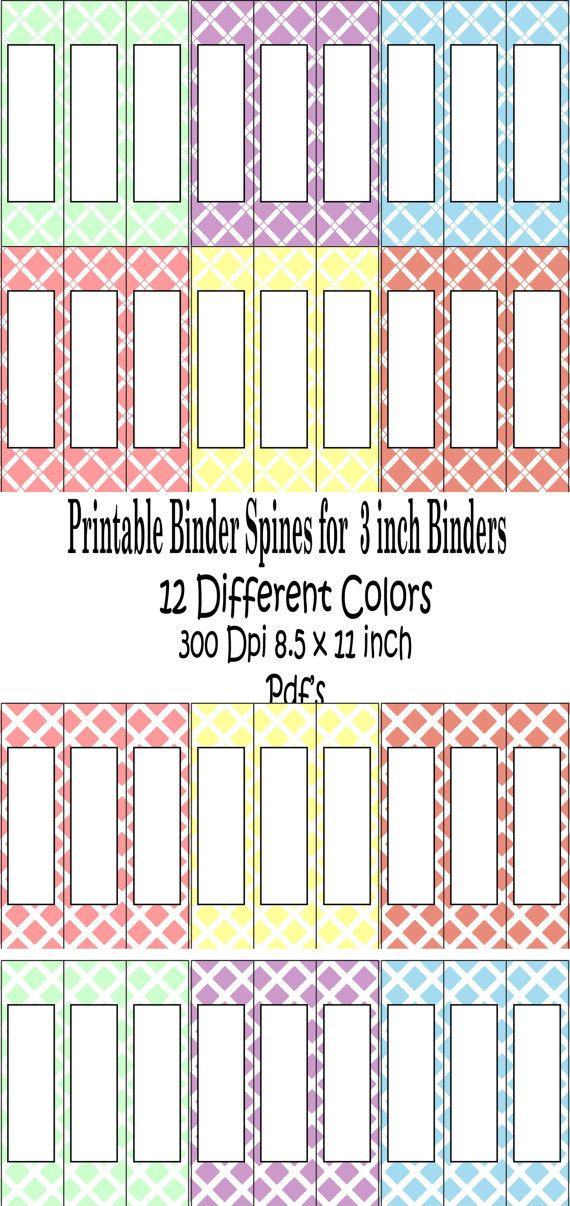 Printable Binder Spine Pack Size 3 Inch 6 Different