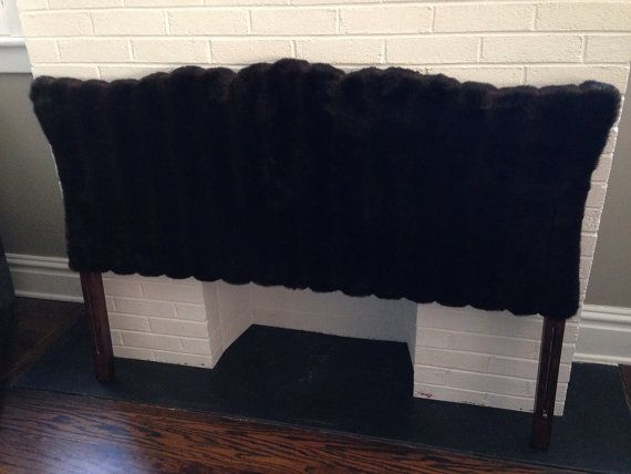 Luxurious chocolate brown and black faux fur headboard for Fur headboard