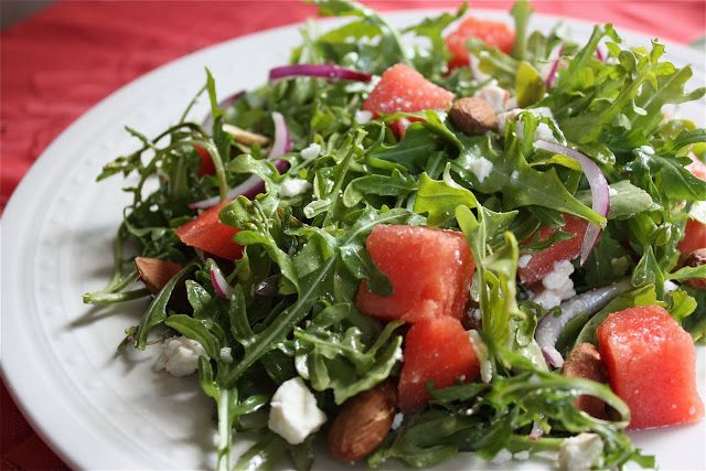 Watermelon Arugula Salad with Almonds, Feta, and Red Onion | Healthy ...