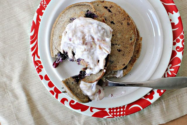 ... Buckwheat Pancakes with Roasted Cardamom- Vanilla Rhubarb Compote