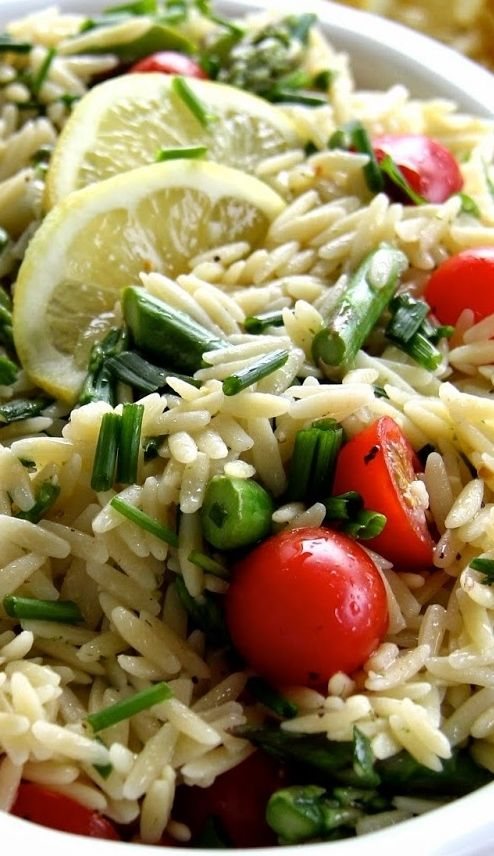 Lemon Orzo Salad With Asparagus And Tomatoes Recipe — Dishmaps