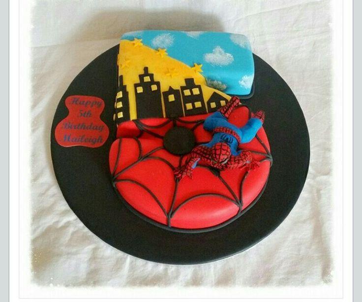 Number 5 spiderman cake by Sugarplum Patisserie