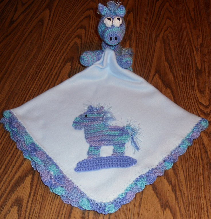 Blue Baby Receiving Blanket with Crochet Rocking Horse ...