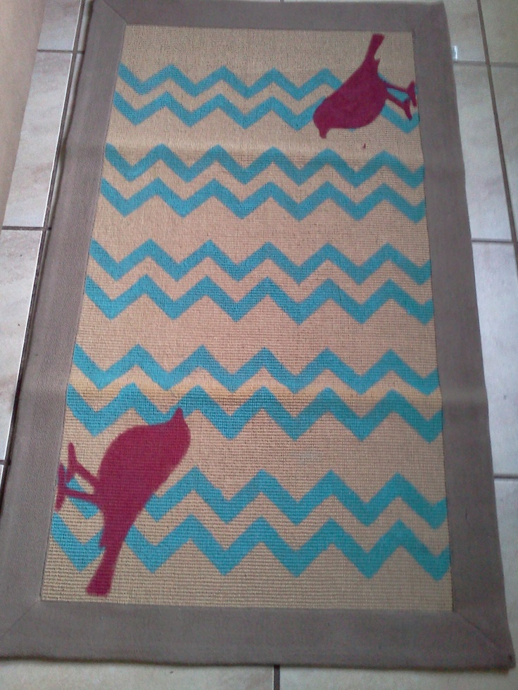 Turquoise chevron and red birds rug.  Ideas for the House  Pinterest