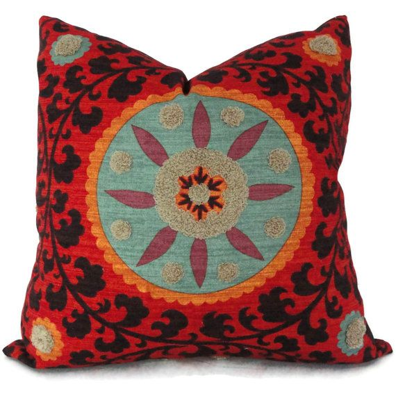 Colorful Tufted Tribal Suzani Decorative Pillow Cover 18x18, 20x20 or 22x22 inch - Accent pillow ...
