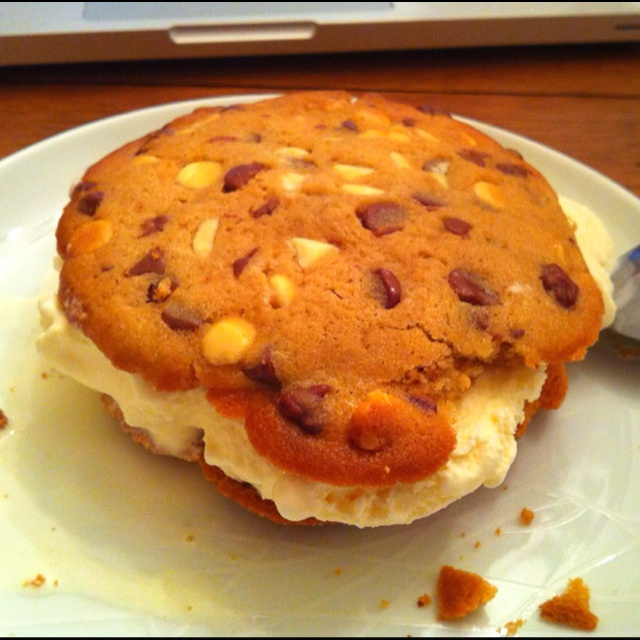 ... French vanilla ice cream and giant cookie sandwich! Very unhealthy