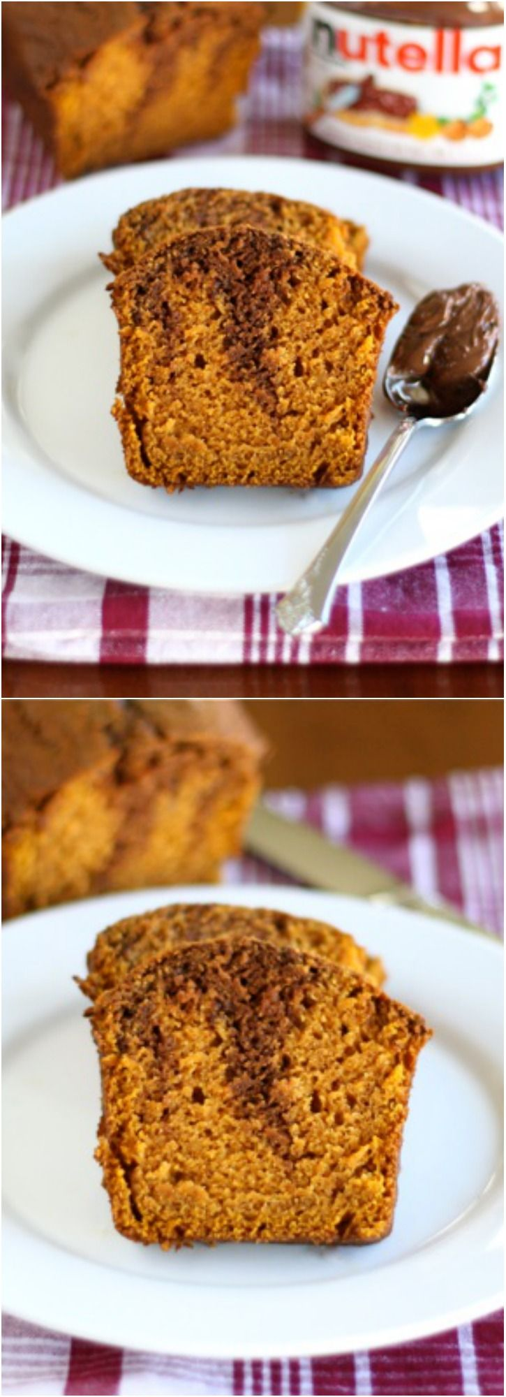 Pumpkin Nutella Bread Recipe on twopeasandtheirpod.com Pumpkin Bread ...