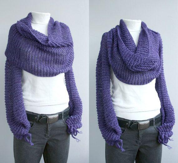 Long sleeves Angora wool Purple Bolero Scarf Shawl Neckwarmer Gift Under 100 ...