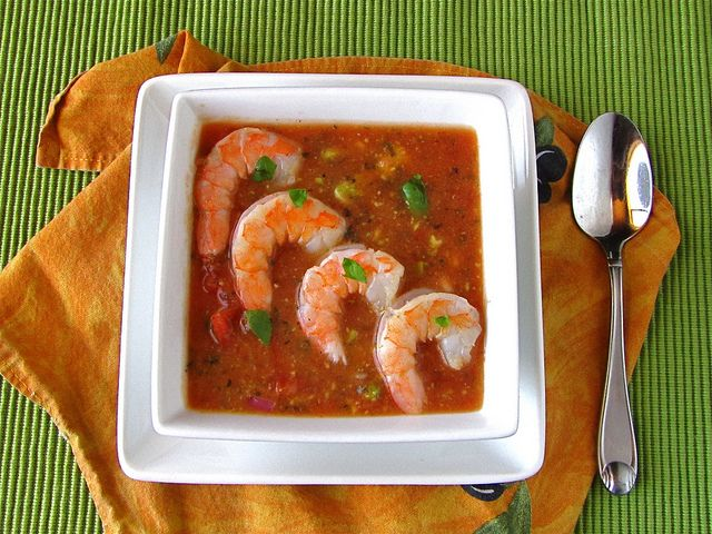 Heirloom Tomato Soup with Shrimp & Avocado @Milisa- Miss in the Kitchen
