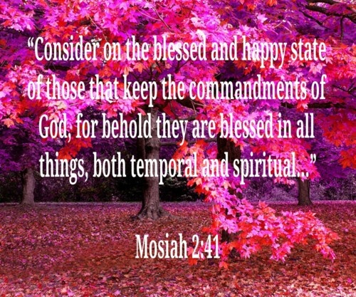"""Consider on the blessed and happy state of those that keep the commandments of God, for behold they are blessed in all things, both temporal and spiritual…"" Mosiah 2:41"