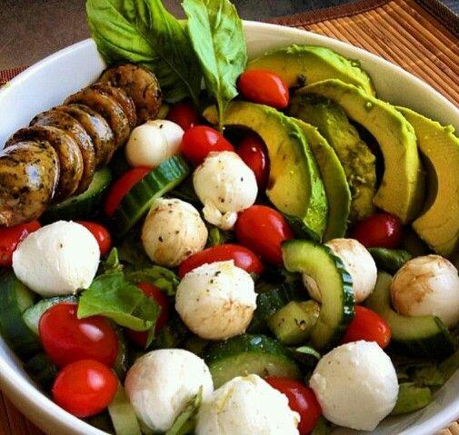 Caprese Cucumber Salad! Fresh basil, fresh Mozzerella balls, sugar ...