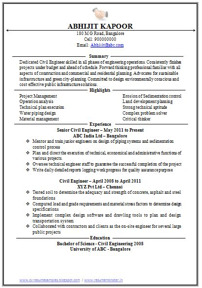 Template of a Excellent One page Civil Engineer Executive Resume ...
